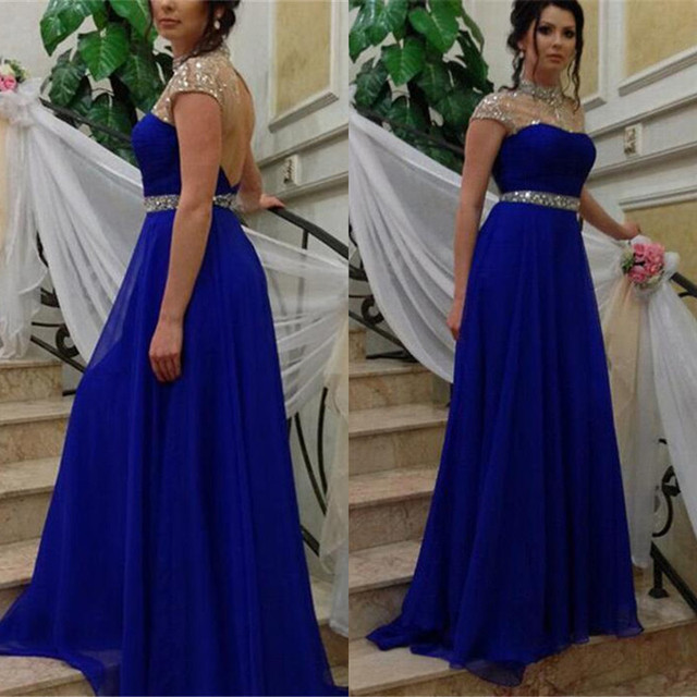 56d325781 Designer Rhinestone Beaded Royal Blue Long Prom Dresses Simple High Neck  Sexy Backless Evening Gowns Cheap Chiffon Party Dresses