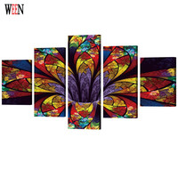 WEEN Abstract Flower Pictures Art Stretched And Framed Directly Handed 5 Piece Wall Canvas For Living