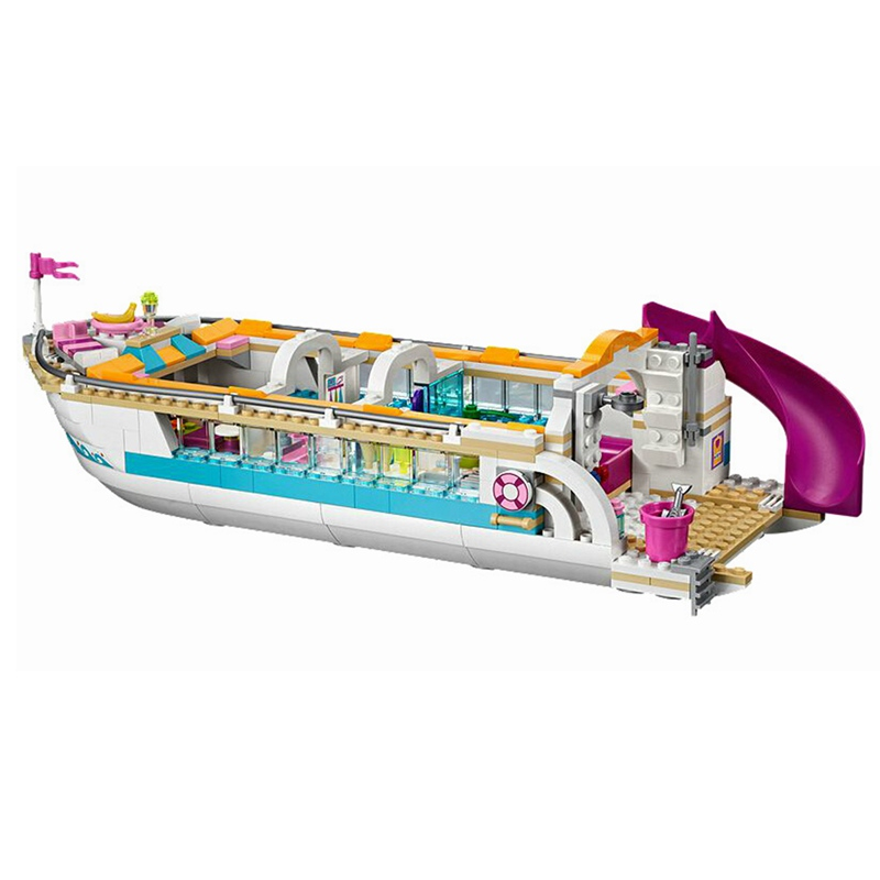 01044 City 661pcs Girl Friends Dolphin Cruiser Yacht Club Cruise Ships Building Block Compatible legped 41015 Brick Toys Gifts