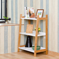 Lanskaya Creative Country StyleCorner Wall Shelves Bamboo Racks Three Layer Shelf Document Holder Office White Book