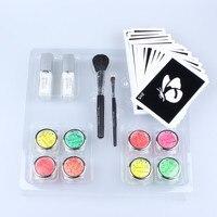 8pcs UV Glitter Tattoo Powder for Body Art Temporary Tattoo /body painting Kit w/ Brushes /Glue /Stencils free shipping