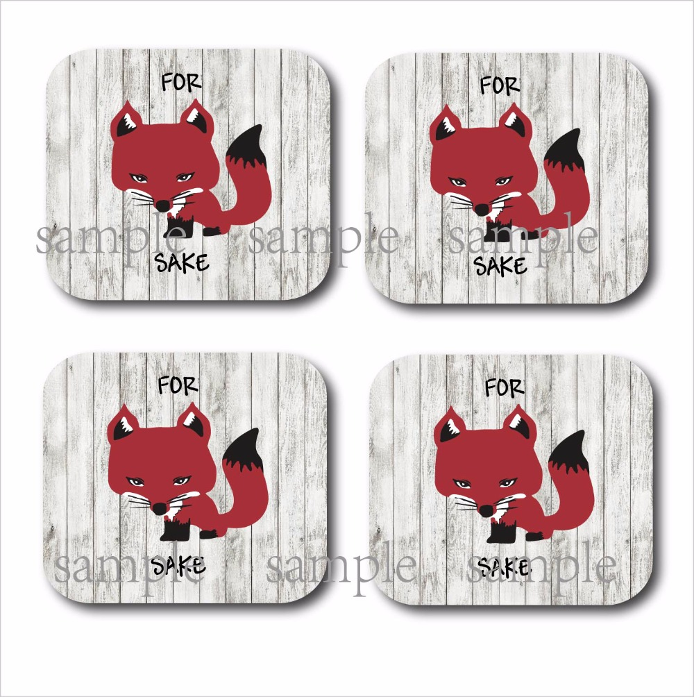 Set of 4 Red For Fox Sake cup wood mdf coasters Vintage Rustic Home Decor personalized wedding favor decoration supplier gifts-in Coffee Cup & Saucer ...
