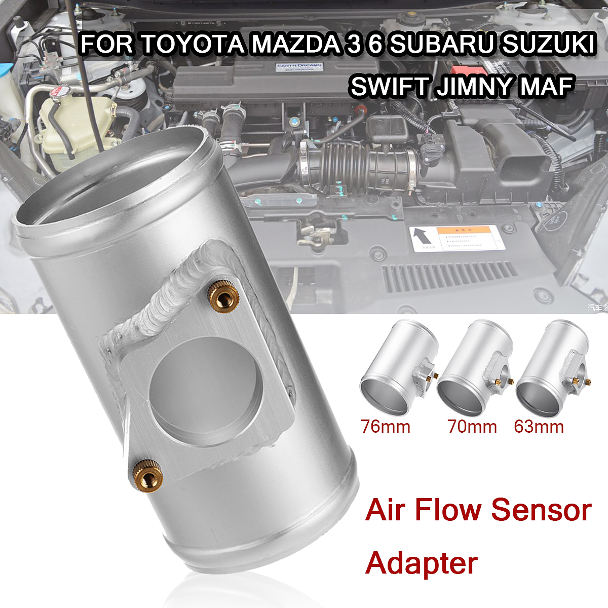 63/70/76mm Car Air Flow Sensor Adapter Performance Air Intake Meter Mount for Toyota/Mazda 3 6 for Subaru/Suzuki Swift цена