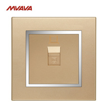 MVAVA PC LAN Wall Decorative Socket Computer Jack Plug Universal Receptacle Chromed Champagne Gold Panel Outlet Free Shipping