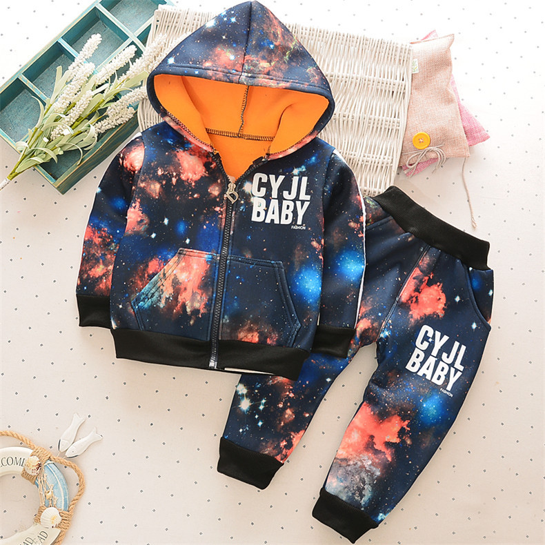 Toddler Boys Clothing Sets Galaxy Printed Hooded Jacket + Velvet Pant Set Baby Clothes 12M-3T XW-EW ...