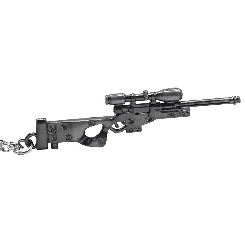 Punk 3D Gun pendant necklace Hot Game Weapon Sniper Rifle Necklaces Arms Mode 3D Imitation Gun Necklaces & Pendants Hiphop DIY