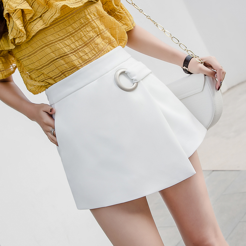 A Line High Waist Women's Shorts Wide Leg Casual Shorts Women Irregular Korean Shorts Skirts 2019 Spring Summer New Short Femme