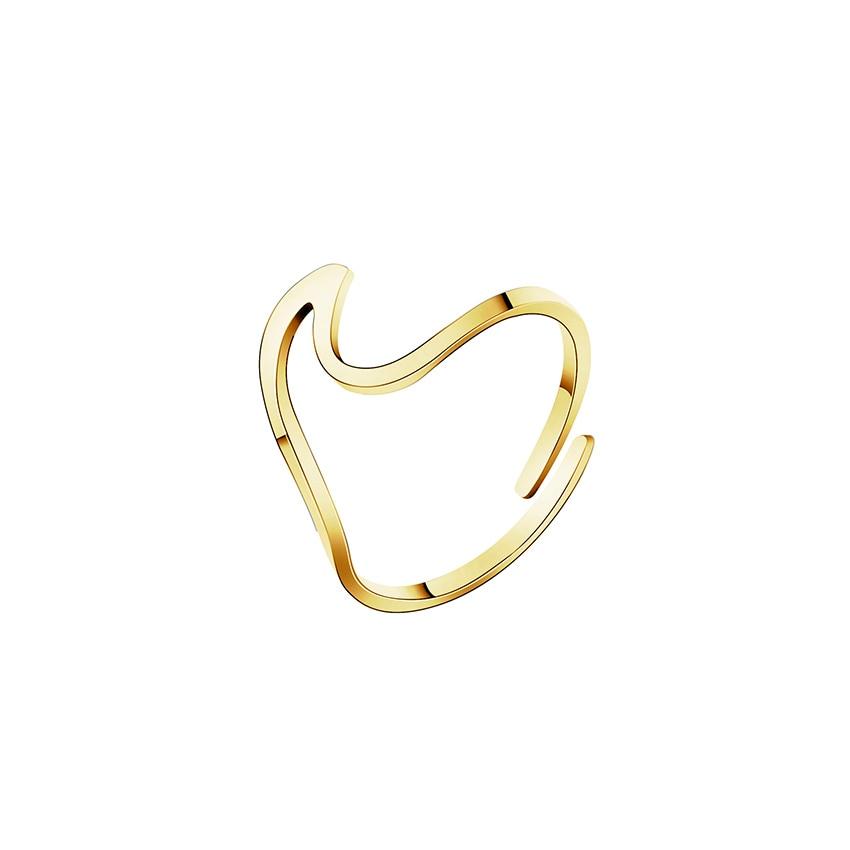 Stainless Steel Ocean Wave Shaped Rings Jewelry Rings Women Jewelry