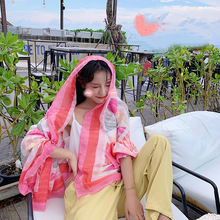 1 Piece Fashion Elegant Pink Pattern 180x90cm Women Sunscreen Cotton Linen Beach Scarf Silk Shawl wraps bandana beach hijab