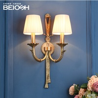 Athens Brass Wall Lamp with 2 Lights and Fabric Shade