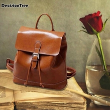 Famous Designed 2019 Vintage Shoulder Bags New Brand Preppy Style Women Backpacks Solid Simple Genuine Leather Backpacks etonweag new 2017 women famous brands vintage travel school bags preppy style bag cow leather brown zipper luxury backpacks