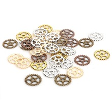 50 unids/lote de abalorios de plata con engranaje de rueda Steampunk Chapado en Vintage mixto, collares y pulseras que ajustan la fabricación de joyas de Metal DIY