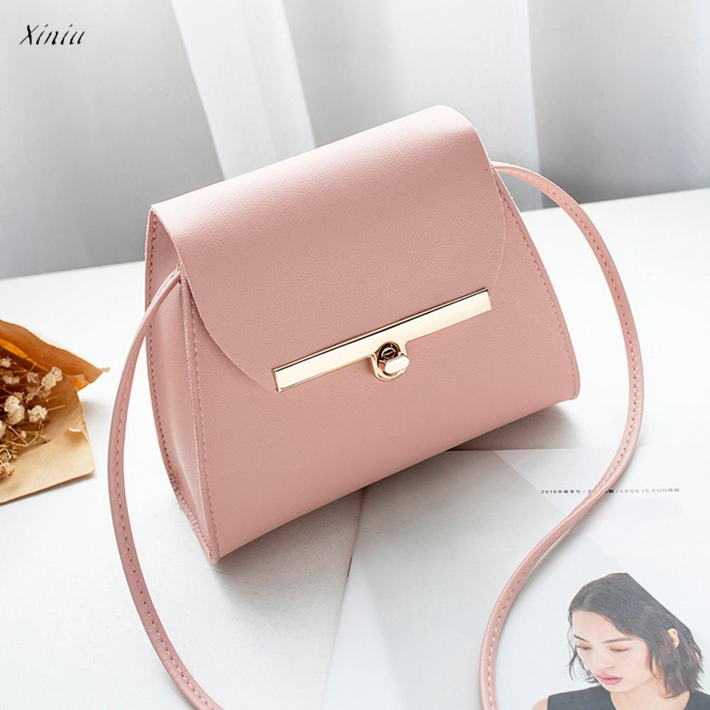 Xiniu Women Fashion Handbags Pure Color Leather Messenger Shoulder Bag Chest Bag Crossbody Bags for Women 2018 bolsa feminina Сумка