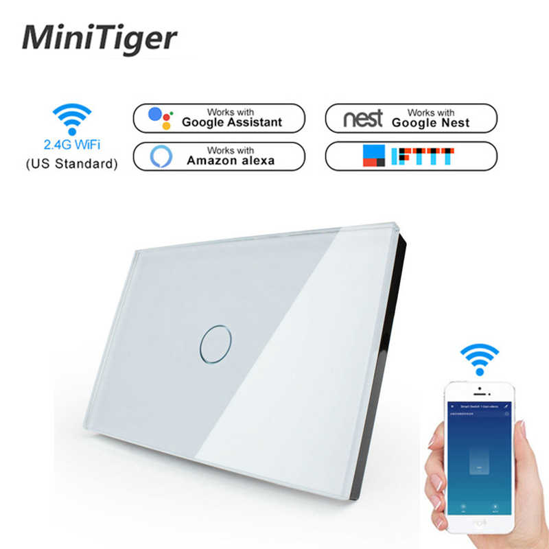 Minitiger US Standard WIFI Smart Touch Switch APP Wireless Remote Light Wall Touch Switch Crystal Glass Panel With Alexa/Google