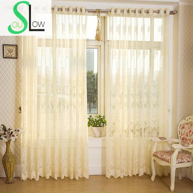 Slow Soul Yellow Hollow Ventilation Light Bedroom Living Room Curtain  Pleated Tulle Curtains Sheer For Kitchen