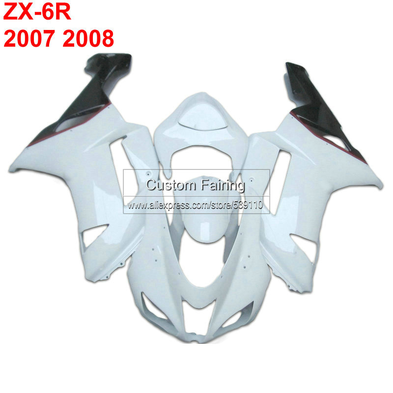 Custom ABS fairings for Kawasaki zx6r zx 6r Ninja 07 08 2007 2008 white Injection fairing kit xl24