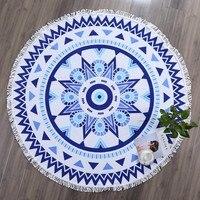 Blue Mandala Round Cotton Beach Towels Extra Large Thick Terry Cloth Oversized Microfiber Beach Towel Blanket Yoga Mat Tassels