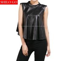 Plus Size New Fashion Women High Quality Sheep Skin O Neck Sleeveless Sexy Back Black Genuine