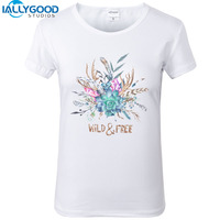 2017 New Summer Harajuku Design Wild And Free Watercolor Feather Flower T Shirt Funny Short Sleeve