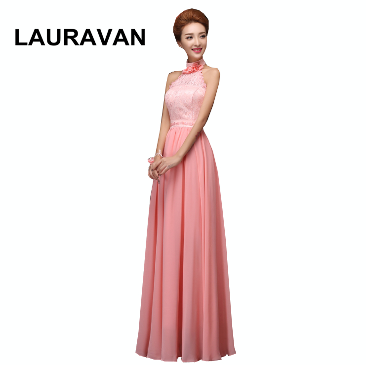 Robes Soiree Elegant Formal Watermelon Halter Neck Chiffon Gowns Plus Size Women Dresses For Special Occasion Bridesmaid Gowns