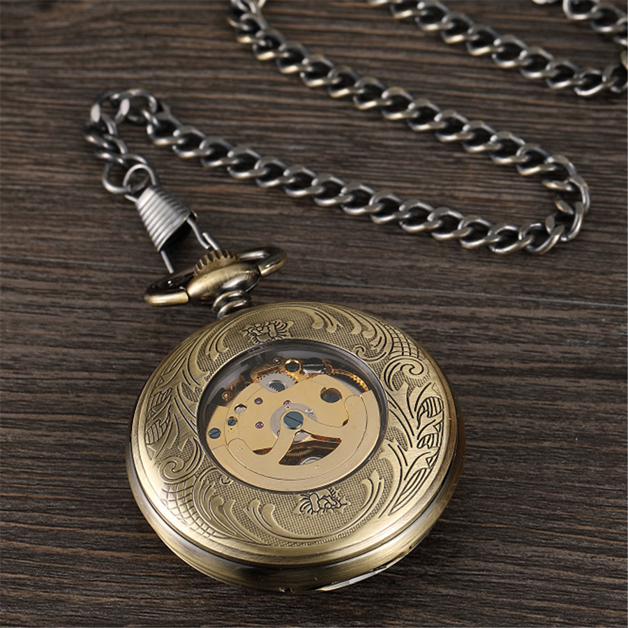 Vintage Train Carving Mechanical Pocket Watch Roman Numerals Analog Antique Hand Wind Watch Pendent Steampunk Men/'s Gift