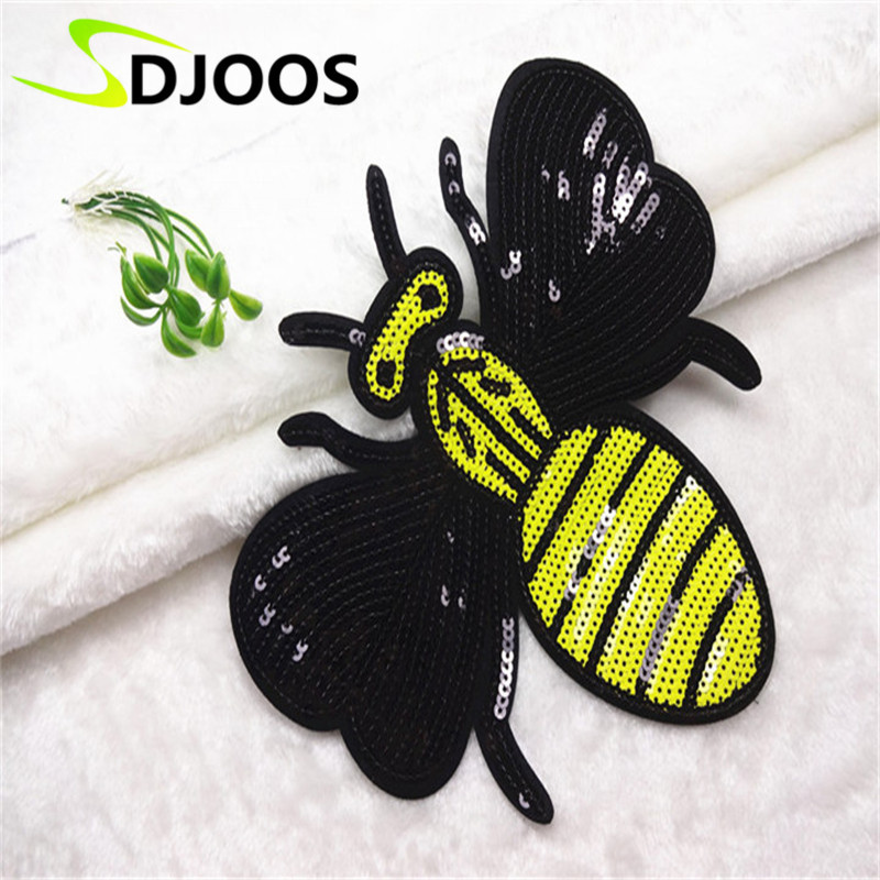 Bee Appliques Embroidery Patches for Clothing Biker Motorcycle Cartoon Iron-on Patches for Clothing Tops Jeans Jackets Kids Bags