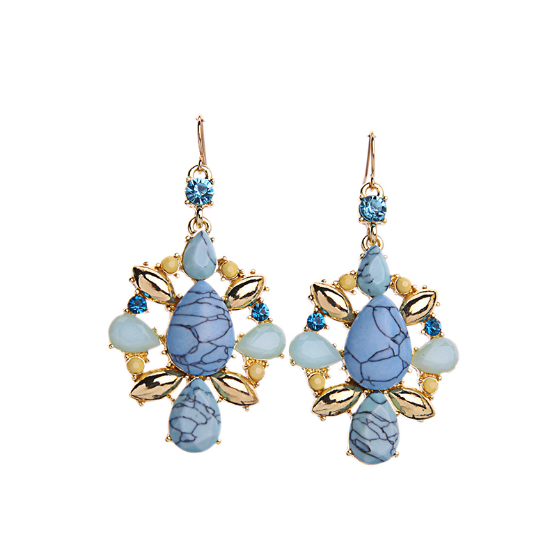 finish sterling teal jewellery in cerulean earrings bright gem silver fashion drop sale stud rueb york deep sea chunky blue gems bold tone and crystal