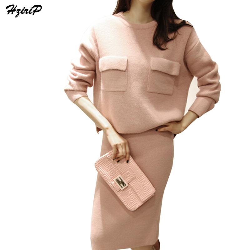 Hzirip Two Piece Dress Suit 2017 New Autumn Winter Soft Warm Fashion Long Sleeve Knitting Sweater Tops+Skirt 2 Piece Set Women
