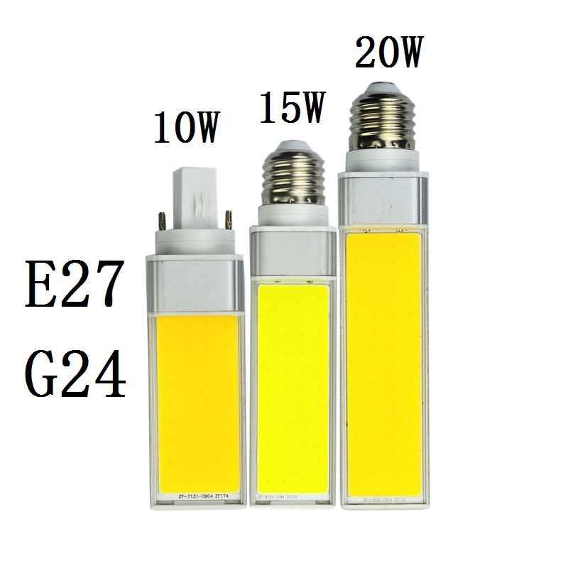 Светодиодный светильник 10 Вт, 15 Вт, 20 Вт, E27, G24, кукурузная лампа, SMD COB, белый, теплый, белый, точечный светильник, 180 градусов, AC110V, 220 В, горизонтальная вилка, светильник, лампада