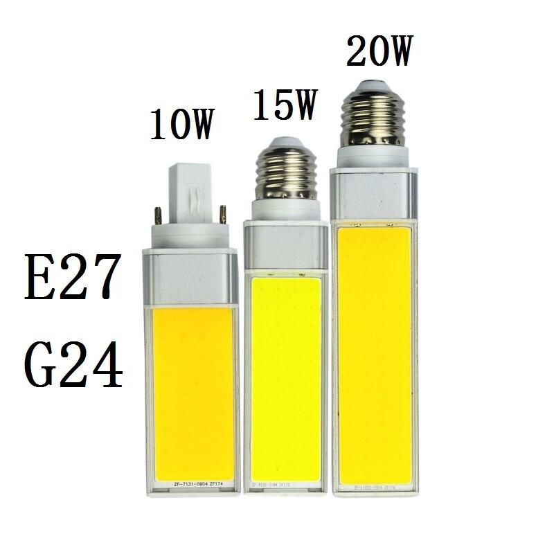 Lâmpadas led 10 w 15 20 e27 g24 lâmpada de milho smd cob branco quente holofotes branco 180 graus ac110v 220 v plugue horizontal luz lampada