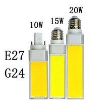 Lâmpada led de 10w, 15w, 20w, e27, g24, luz branca, quente e branca, holofote 180 graus lâmpada de luz horizontal ac110v 220v