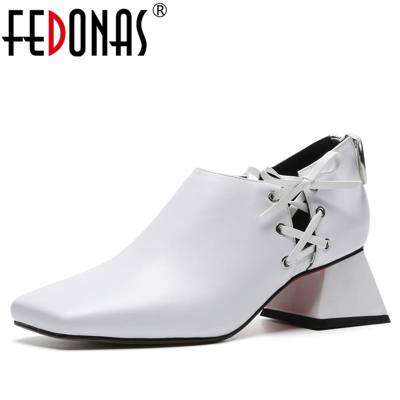 FEDONAS Brand Sexy Women Genuine Leather Square Toe Pumps Fashion High Heeled Zipper Party Night Club