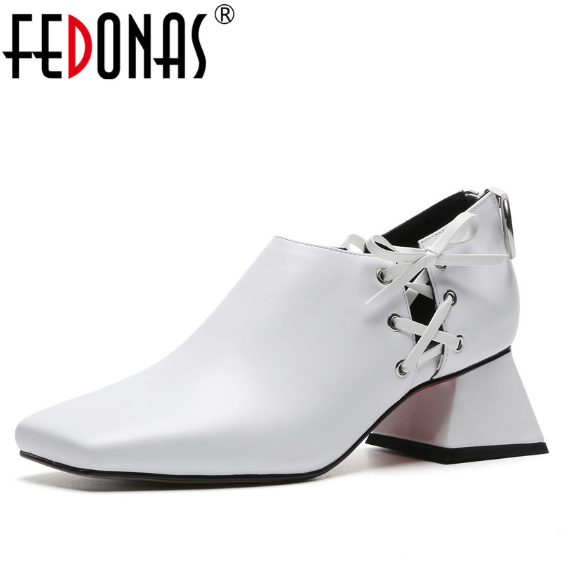 FEDONAS Brand Sexy Women Genuine Leather Square Toe Pumps Fashion High Heeled Zipper Party Night Club Shoes Woman New Pumps