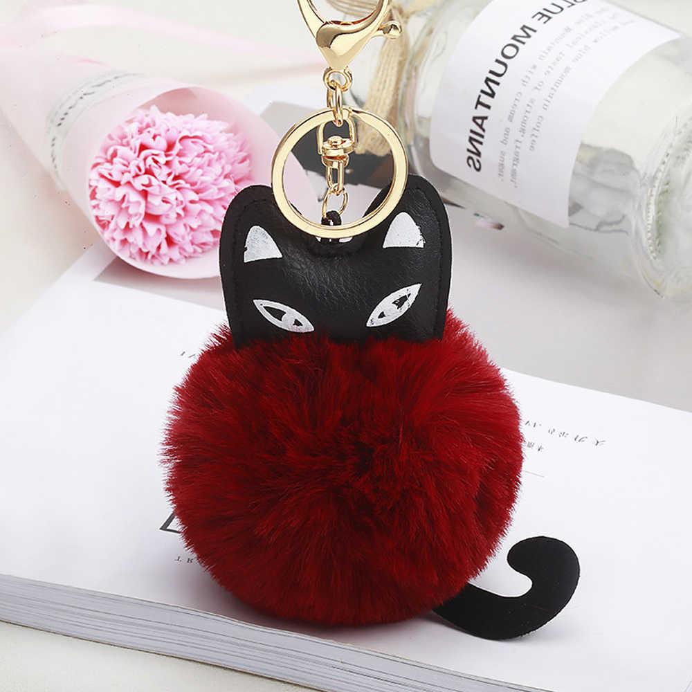 ... Fashion Jewelry Women Cat Keychains Pompom Soft Fur Ball Furry Key Ring  Car Purse Pom Pom ... 7b73ca0eadba5