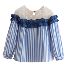 Sardiff Brand 2018 Kids Stripe Shirt With Lace Ruffle Long Sleeve Shirts For Girls Spring Autumn Clothing Contrast Ruffle Front