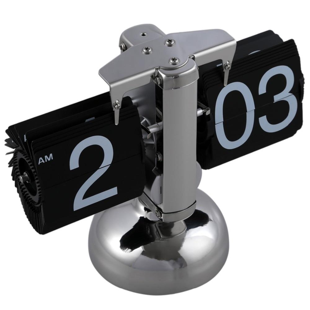 Retro Flip Over Clock Desk Stainless Steel Flip Internal Gear Operated Flip Table Clock Operated Quartz Clocks Small Scale 3