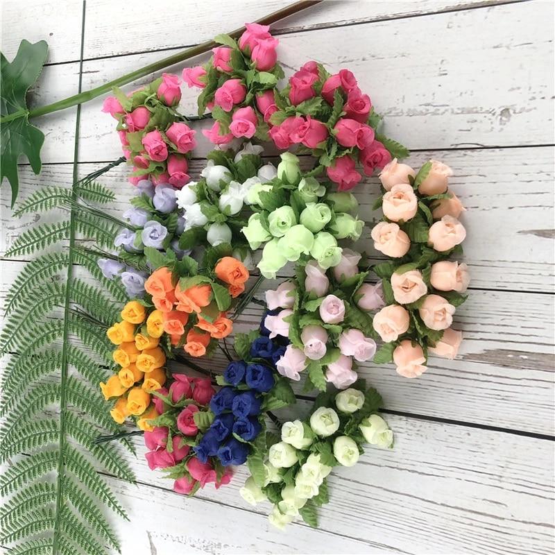 Mini 2cm 12pcs Diy Silk Rose Bouquet Flower Fake Flower Artificial Flowers For Wedding Decoration Garland Valentines Day Gift Jw Artificial Dried Flowers Aliexpress