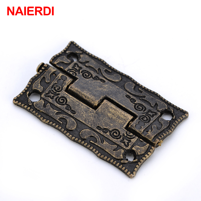 2PCS NAIERDI Antique Bronze Hinges Cabinet Door Drawer Decorative Mini Hinge For Jewelry Storage Wooden Box Furniture Hardware
