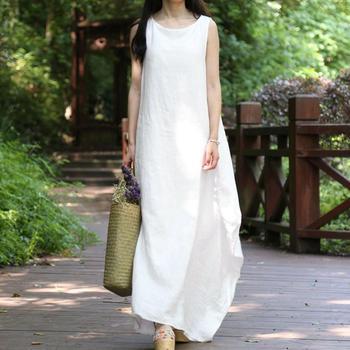 e57e8066c1 EaseHut étnicos Vestidos de verano de 2019 de las mujeres sin mangas de la  playa Vestidos damas Casual suelto blanco vestido largo Maxi Plus tamaño