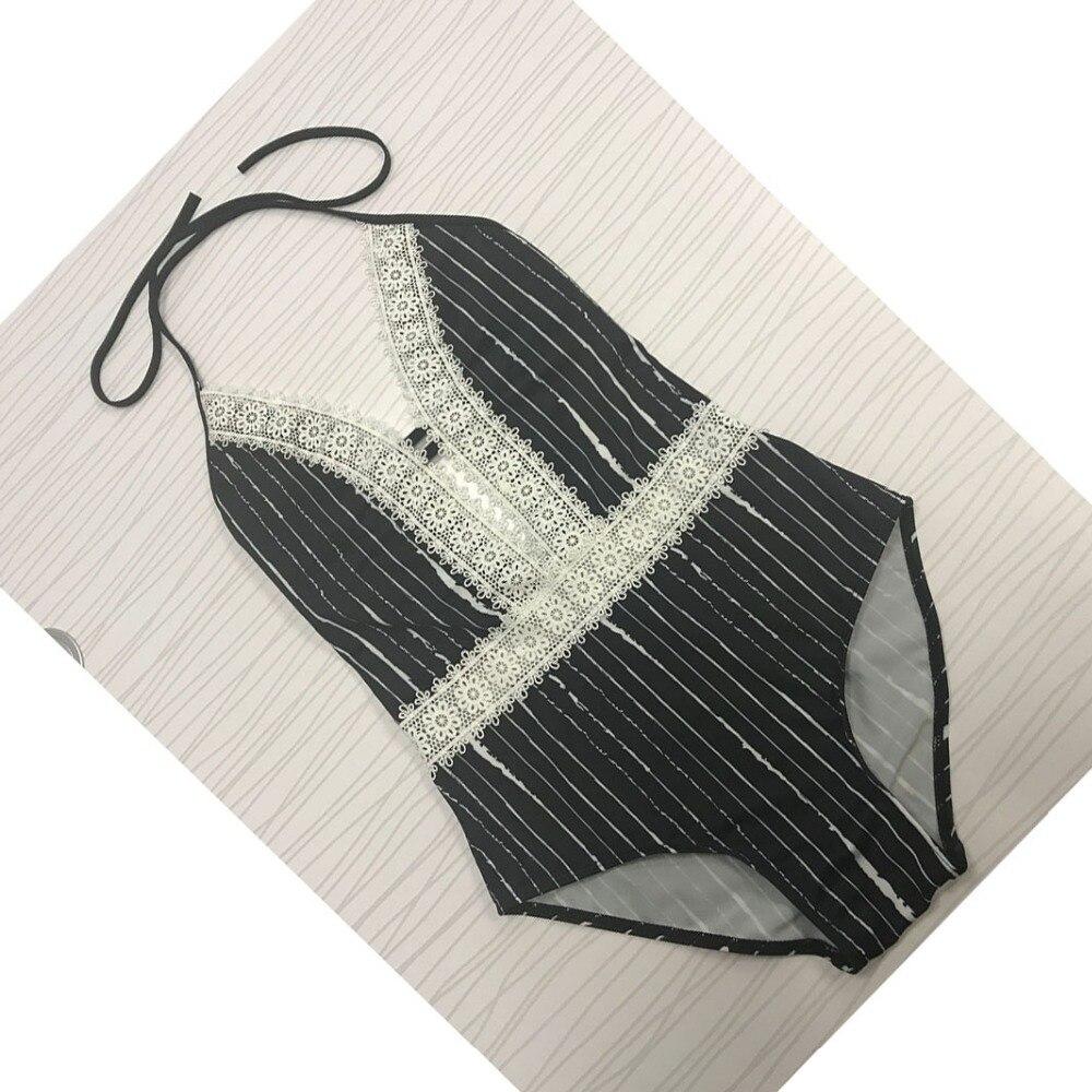 New Lace One Piece Swimsuit Women Bathing Suits Black Striped Swimwear Sexy Swimwear Women Bodysuit Bandage Monokini 2017 new sexy one piece swimsuit strappy biquini high waist one piece swimwear women bodysuit plus size bathing suits monokinis