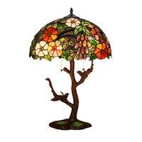 Европейский Винтаж деревенский сад цветок Leaf животных Птица кровать настольная лампа, двойной E27 светодиодный прикроватные тумбочки, Рабоч