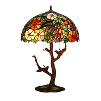 European Vintage Rustic Garden Flower Leaf Animal Bird Bed Table Lamp,Double E27 LED Bedside Desk Light Home Office Decorative