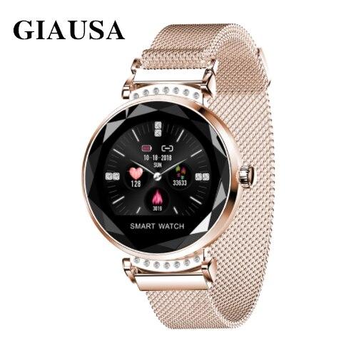 Femmes montre intelligente de luxe dames Smartwatch moniteur de fréquence cardiaque Tracker de Fitness étanche horloge intelligente pour les femmes IOS Android