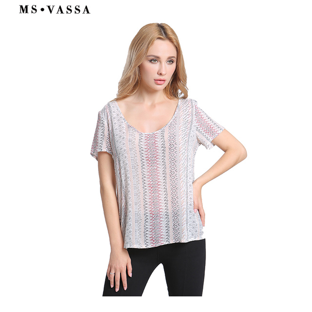 Tees Striped T-shirt Short Sleeve for Women