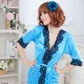 Robe De Seda das Mulheres da primavera Sexy Lingerie G-string Vestido Camisola Sleepwear Roupão S1 DD02