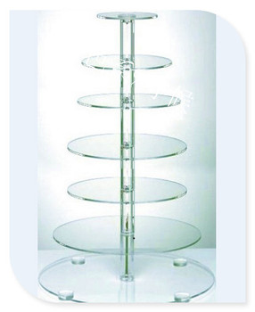 HOT!!!FREE SHIPPING 7 Tier Big Style Round Acrylic Wedding Cupcake Stand Clear Acrylic Cake Display