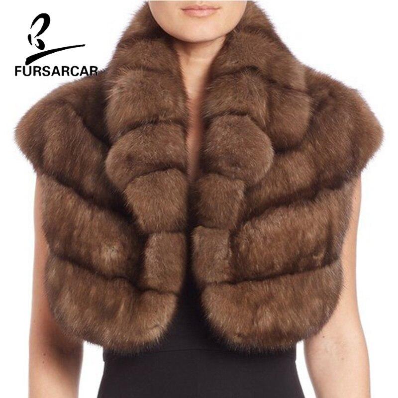 Mode De Réel Style Cape Châle Complet Pelt Femmes Vison Manches O Luxe Veste Mince Fursarcar cou Court Hiver Fourrure Naturel qRw5CZZ