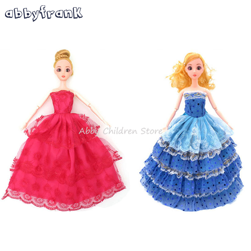 Abbyfrank 5 Pcs/Set Fashion Doll Clothes Princess Kinds Wedding Dress Clothing Outfit Clothes Doll Accessories Toys For Girls