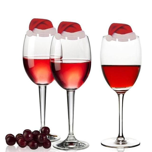10Pcs/lot Christmas Decorations For Home Table Place Cards Christmas Santa Hat Wine Glass Decoration New Year Party Supplies 2