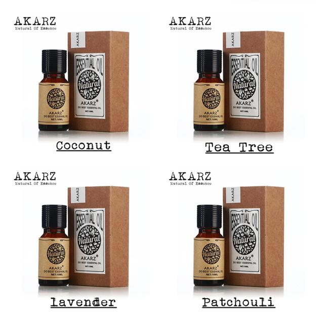 AKARZ Famosa marca de coco 100% Puro Pacote de Aromaterapia Óleo Essencial de patchouli lavanda da árvore do chá, Banheira Spa massagem 10 ml * 4